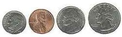 Millimeter size of coins