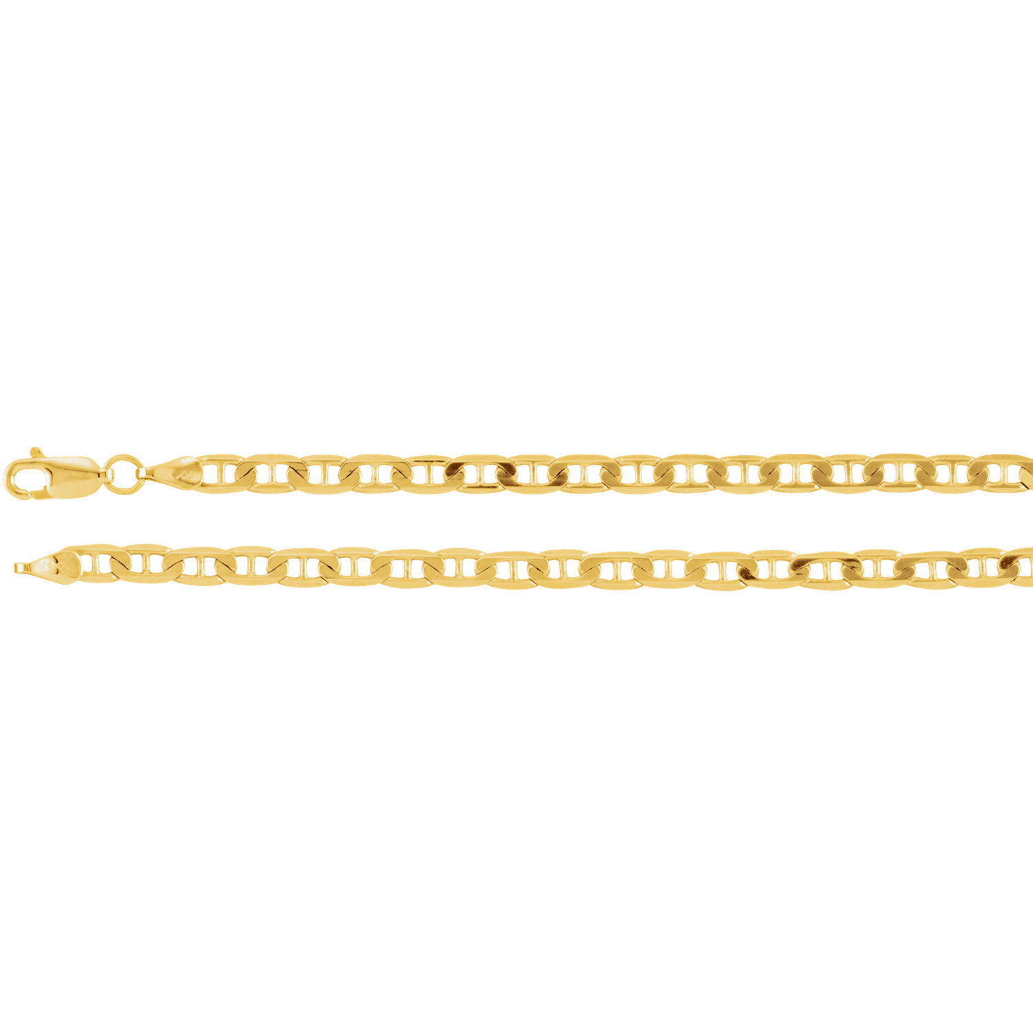 14K Yellow Solid Anchor Chain, 3.5 mm, with Lobster Clasp, 24 Inches (14.17 grams)