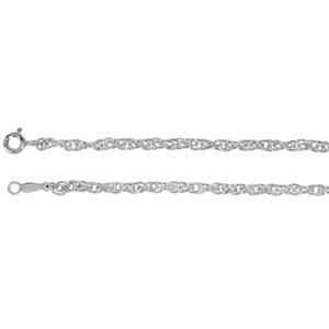 Sterling Silver Solid Rope Chain Bracelet, 2.5 mm, with Spring Ring Clasp, 7 Inches