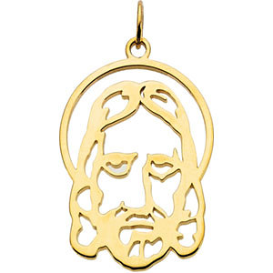 14K Yellow Silhouetted Face of Jesus Pendant,  14x9 mm