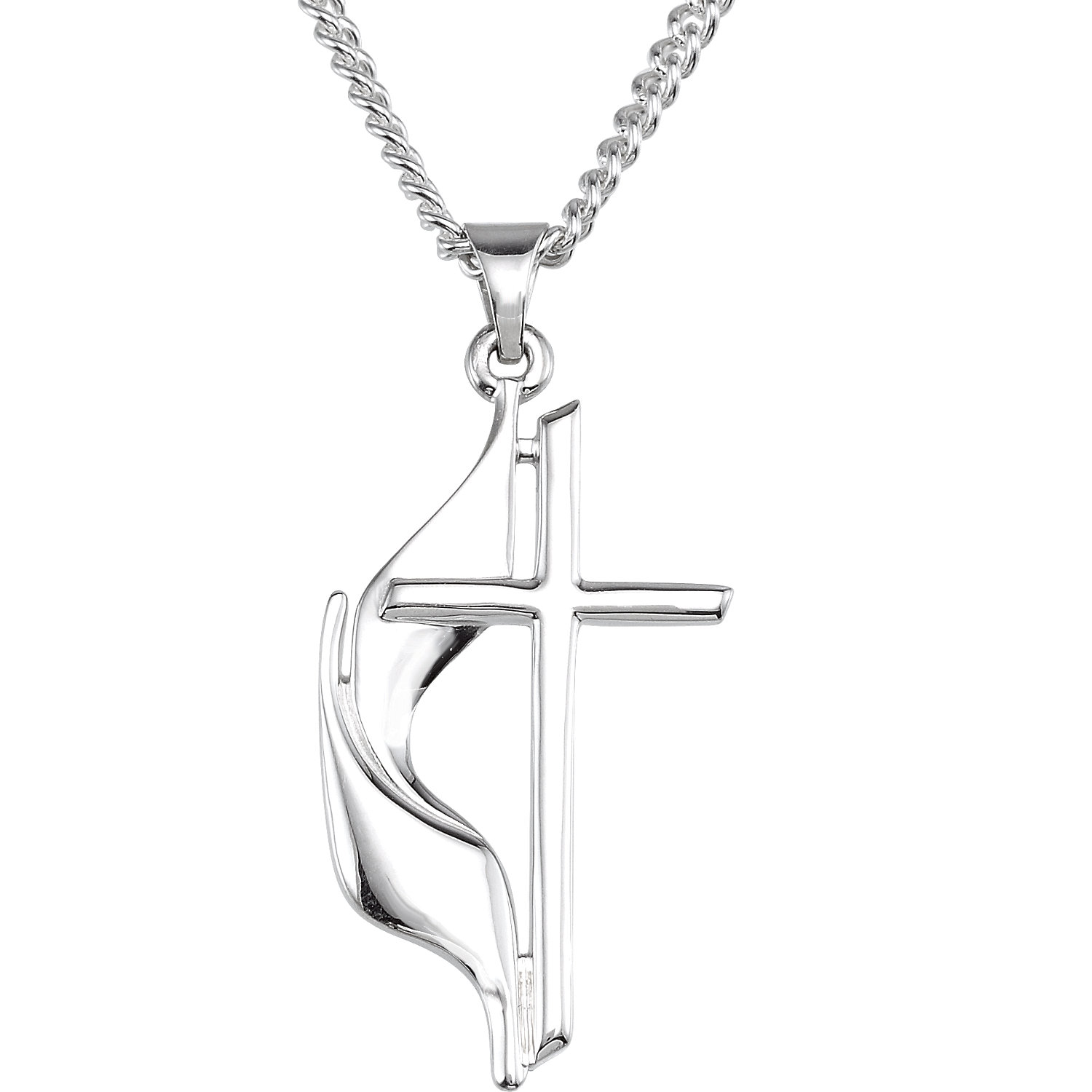 Sterling Silver Methodist Cross Necklace, 19x10 mm, with 18-Inch Chain