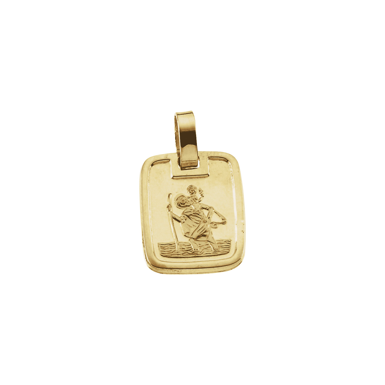 14K Yellow St. Christopher Rectangular-Shaped Medal, 13.1x11.2 mm