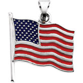 "14K Yellow American Flag Pendant with Red/White/Blue Enamel and ""I Love USA"" on back, 14.5x14 mm"